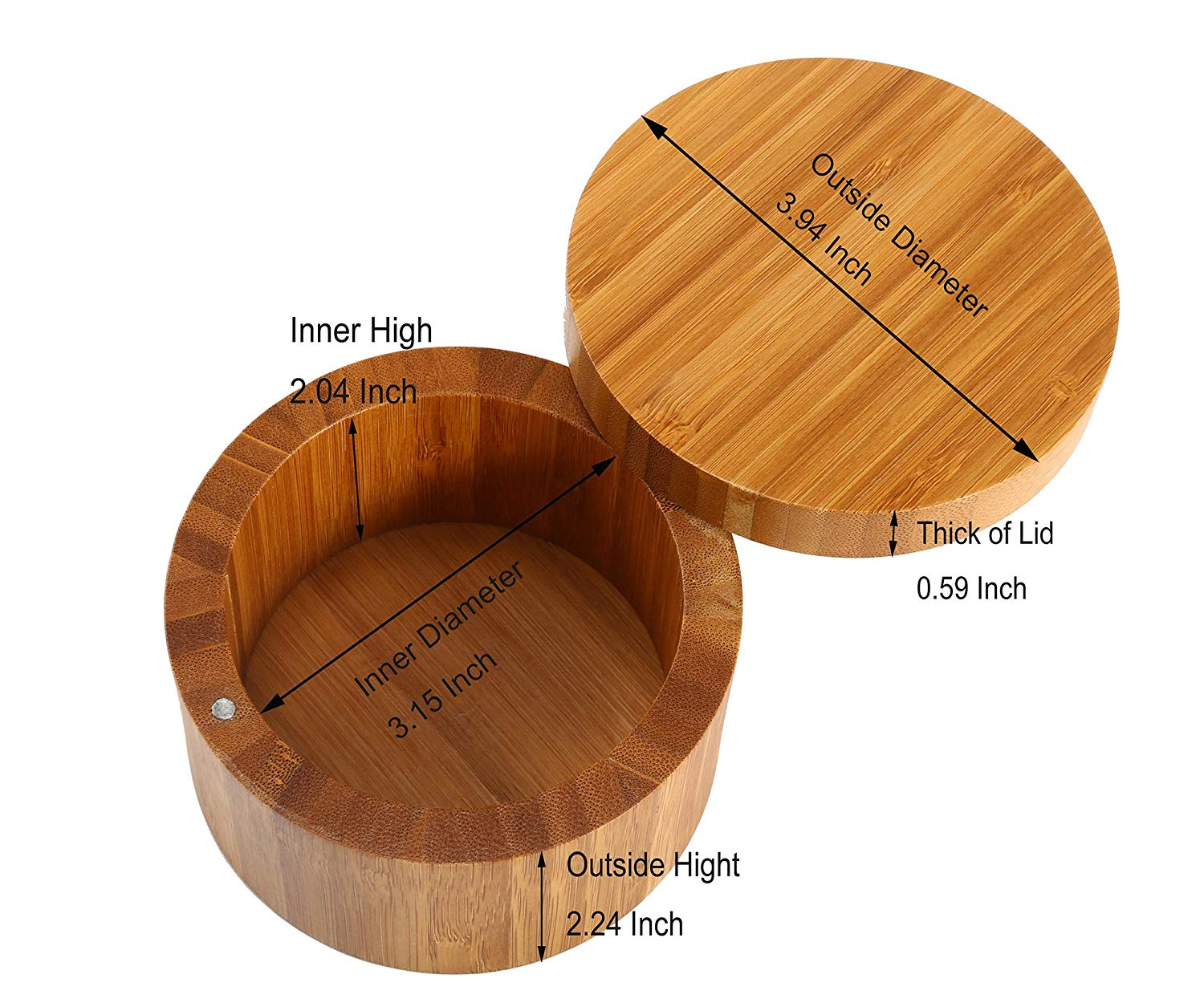 100% Bamboo 8.5Oz Spice Salt Box Container With Magnetic Swivel Lid