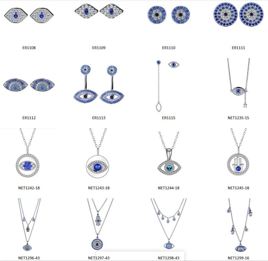 925 prata esterlina 3 dançando pedra olho mau colar atacado YN0033