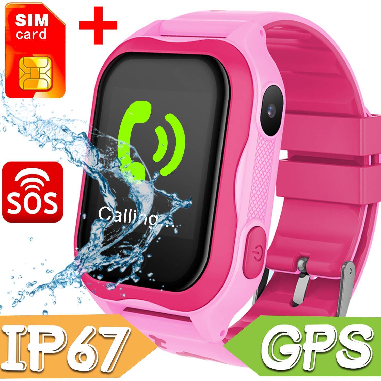 Kids Smart Watch Phone Waterproof,GPS Tracker with SIM Pedometer Fitness Tracker Boys Girls Wrist Sport Watch Game Anti-Lost SOS Alarm Clock Swim Run Summer Outdoor Birthday