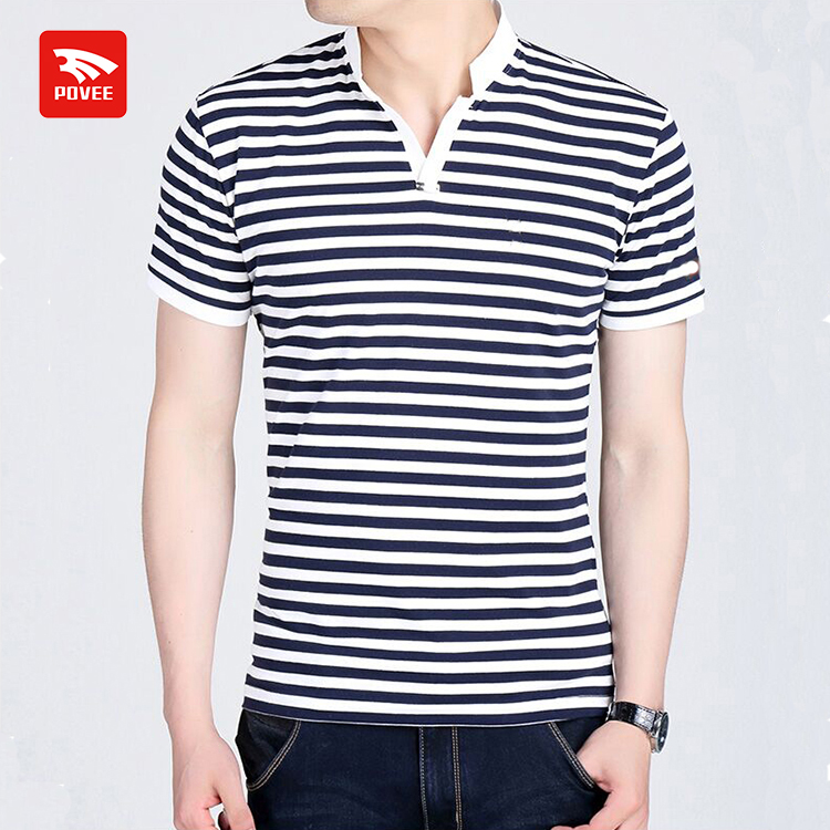 2017 new men's short-sleeved Slim striped clothing polo t shirt