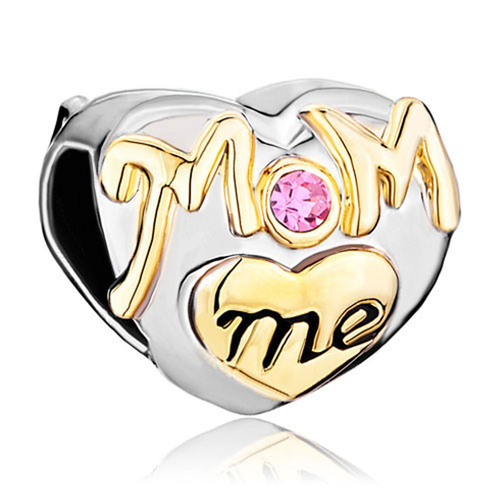 Silver Plated Mom Me Mother Daughter Charms Crystal Golden Heart Love Bead Fits Pandora Charms Bracelet