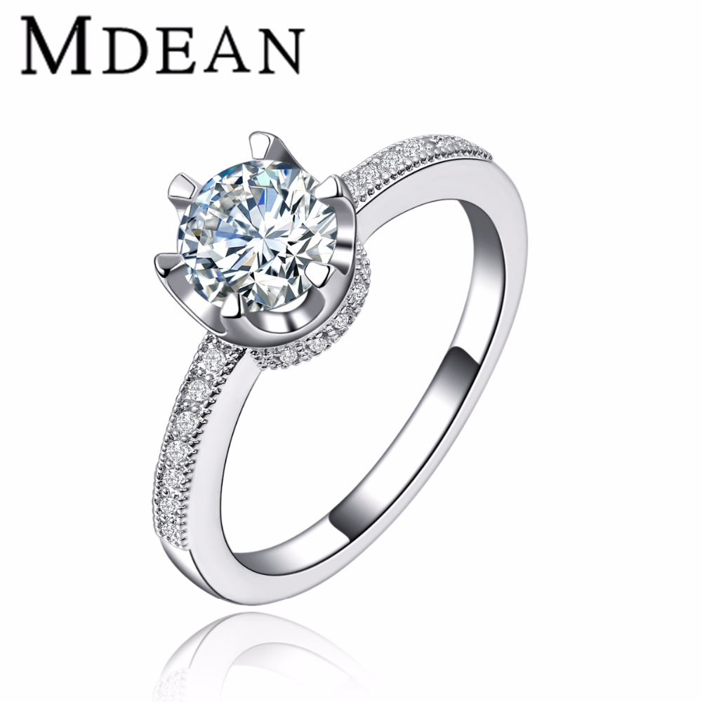 MDEAN MSR118 wholesale and drop shipping OEM&ODM top quality in stock white gold plated Jewelry Ring for women, N/a