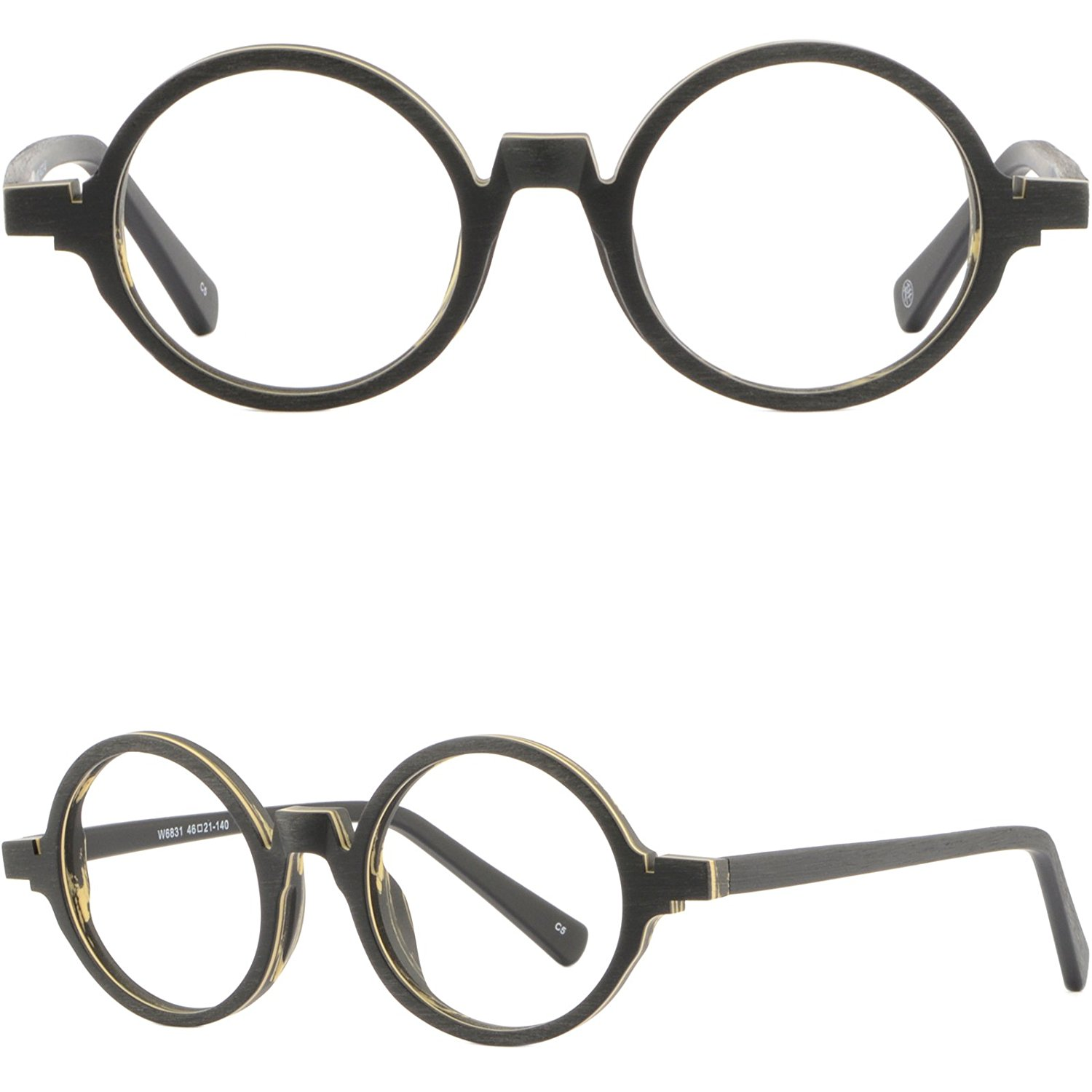5d3ebce83fe2 Get Quotations · Small Narrow Round Acetate Retro Frames Vintage Glasses  Wood Grain Texture Black