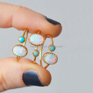 Fashion beautiful design sterling silver opal gemstone ring midi finger adjust gold ring designs