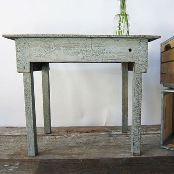 Blue Crackle Paint Farm Table
