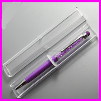crystal metal stylus pen with a plastic box set,stylus pens with glitter