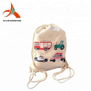 cotton drawstring shoe backpack fabric sling bag cheap canvas backpack
