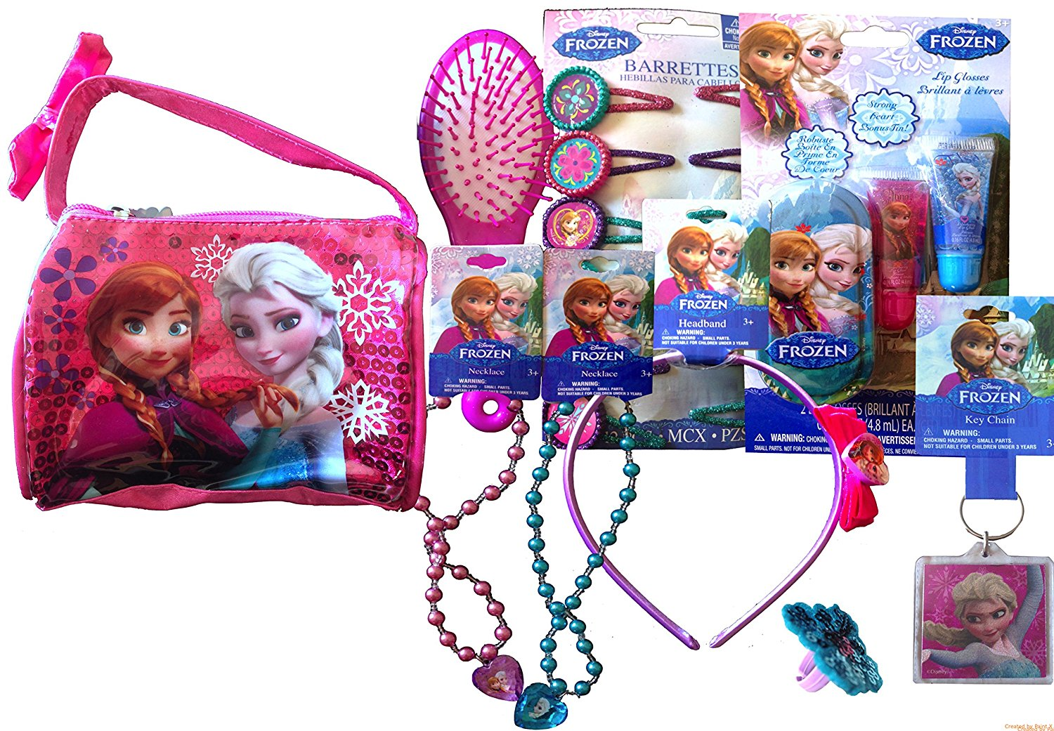 Disneyland Dress up Beauty Kit Pretend Play Handbag Disney Frozen Carry Around Bag with Accessories, Includes 1 Musical Hair Brush , 1 Headband, 1 Ring, 2 Lip Gloss with Bonus Tin to Hold In, 12 Hair Barrettes, 2 Bracelets , 2 Necklaces (HAND BAG VARIATION 5)