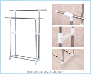 Telescopic Stainless Steel Clothes Drying Rack Malaysia Double Pole With Wheels Hange