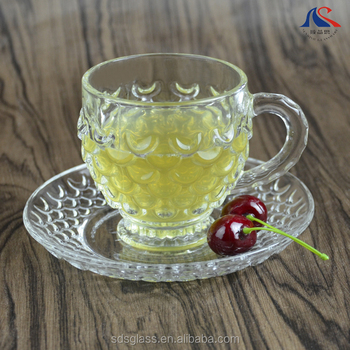 486a35e4f6d7 Wholesale Price Fashion Pineapple Design Crystal Glass Coffee Tea Cup and  Saucer with Handle