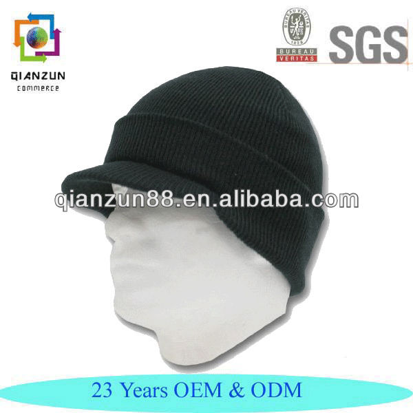 Knit Beanie Winter Visor Hat Scull Cap Style Black Hat/ Hats