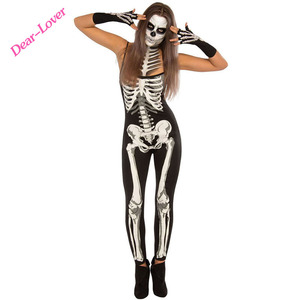 New Arrival Adults Skeleton Jumpsuit Women Halloween Costume