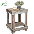 Rustic Torched Dark Brown Whitewash Decorative Wood 2-Tier Accent End Table