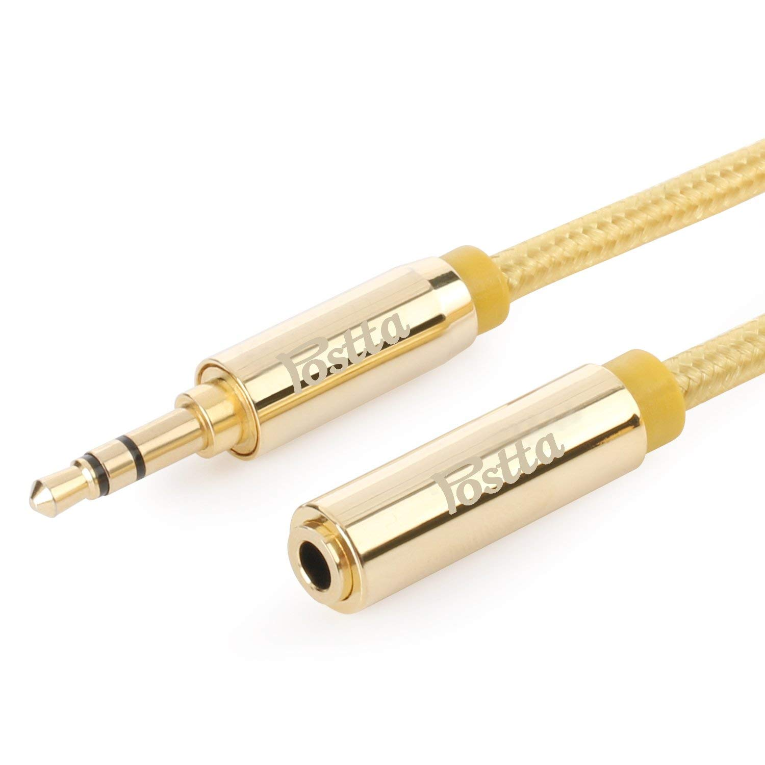 Postta 3.5mm Stereo Audio Extension Cable (10 Feet) Male to Female Gold Plated AUX Cable with Premium Matel Shell for Smartphones,Tablets,Mp3 Player,Speaker and more Devices-1 Pack(Golden)