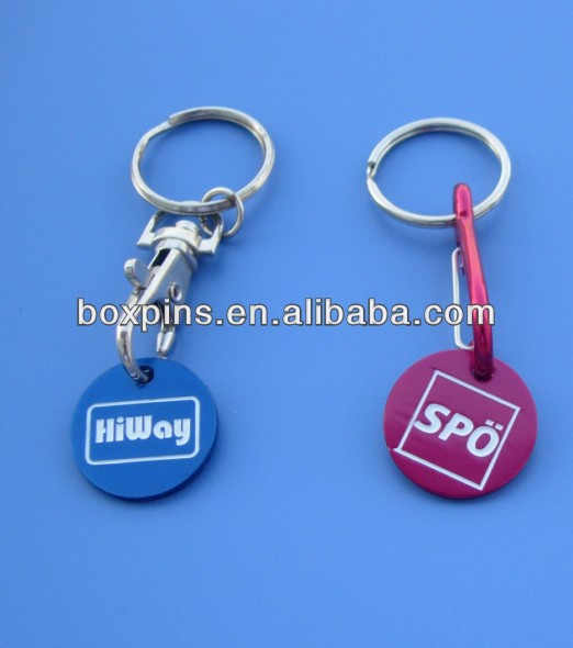 Aluminum supermarket trolley coin key rings trolley tokens