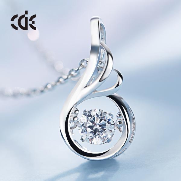 Women Fashion 925 Silver Cubic Zirconia Cz Dancing Stone Necklace Pendant фото