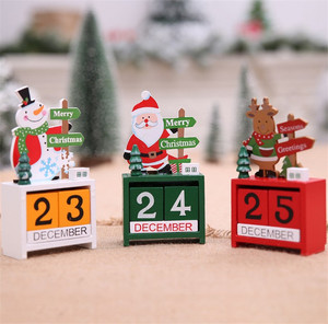 2019 Christmas Decorations For Home Christmas Mini Wooden Calendar Xmas Ornament Home Decoration Craft Gift