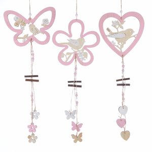 Wooden Butterfly With Bird Hanging Ornament Spring Decoration Easter Decoration