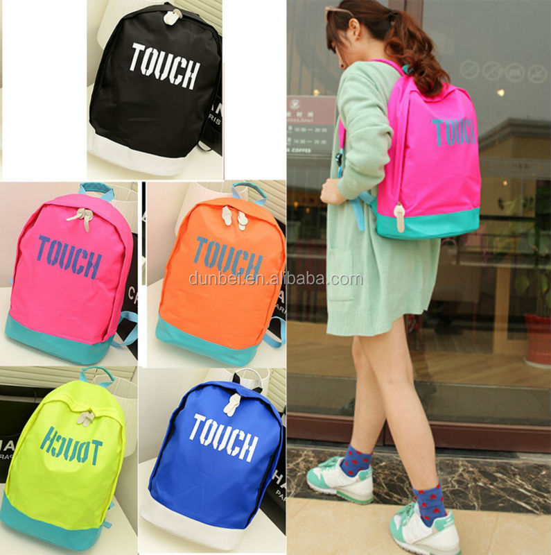 Trending hot products China 2015 Colored nylon Candy Colorful Backpack