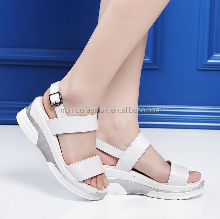 Monroo new style sandals genunine leather fashionable Korean fish mouth sandals
