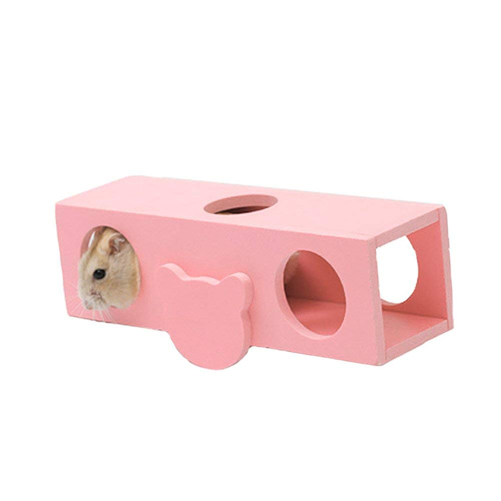 Foerteng Small Animal Toys Natural Wood Hamster Playground House Cage Toy Chew Toy Tunnel Toy for Mouse and Hamster Mice, 3 Colors