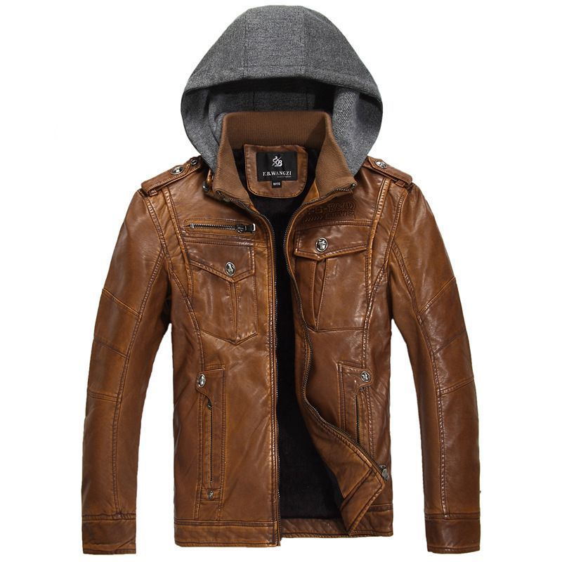 Wholesale 2014 new fashion brand motorcycle PU faux leather clothing ,men's leather jacket, Free Shipping FB13031
