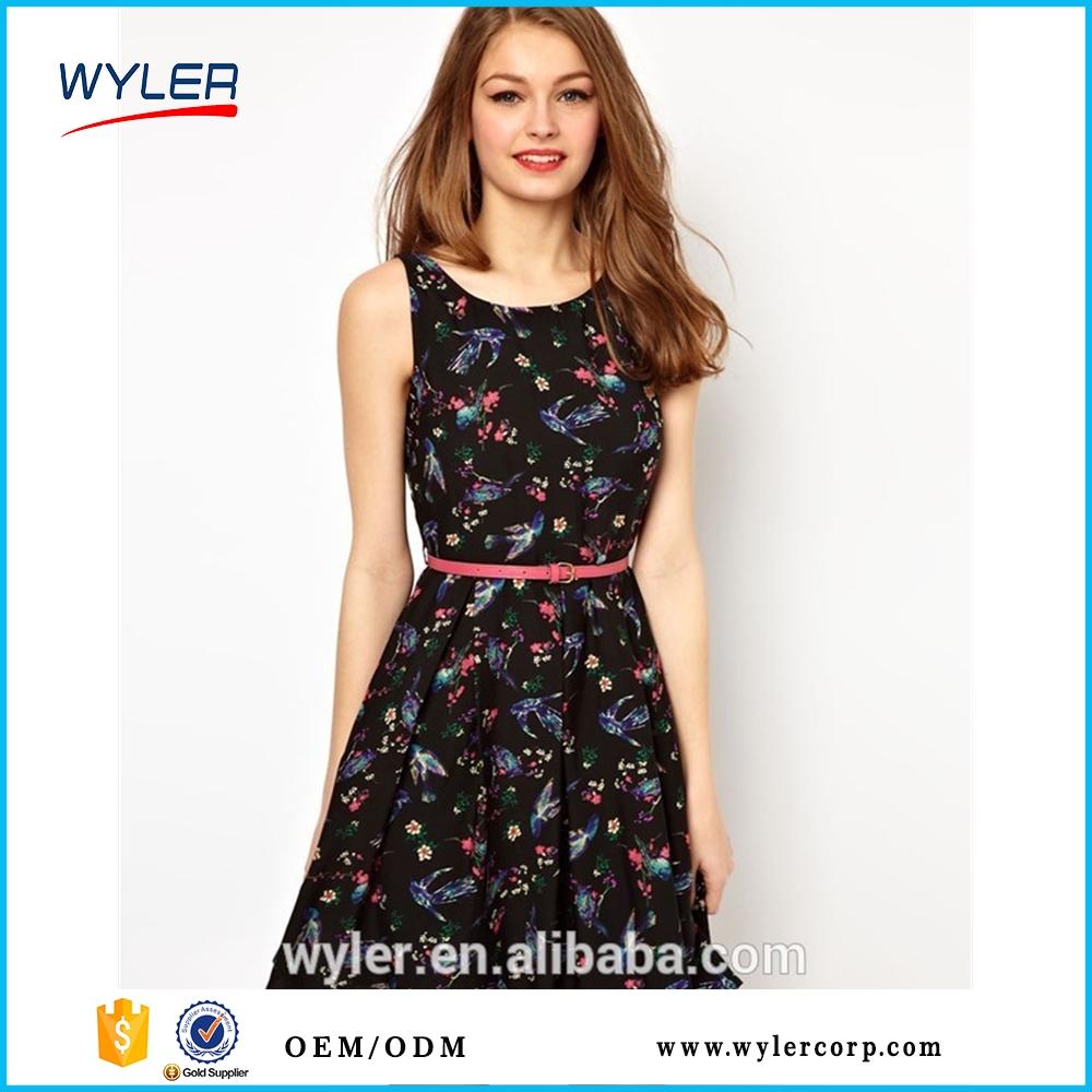 561e7326b summer dress 2016 new one-piece dresses slim fashion fresh slim animal  print sleeveless bandage chiffon vestidos