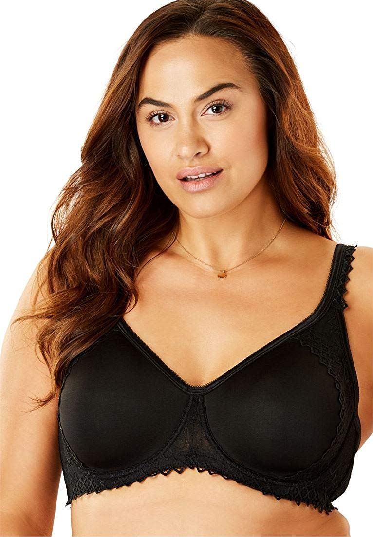 2d571535cb Get Quotations · Women s Plus Size Lightly Padded Secret Shaping Bra Black  ...