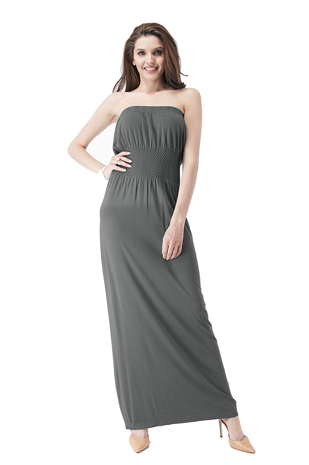 c4384d9542 Get Quotations · Hollywood Star Fashion Sleeveless Tube Top Smocked Seamless  Maxi Dress