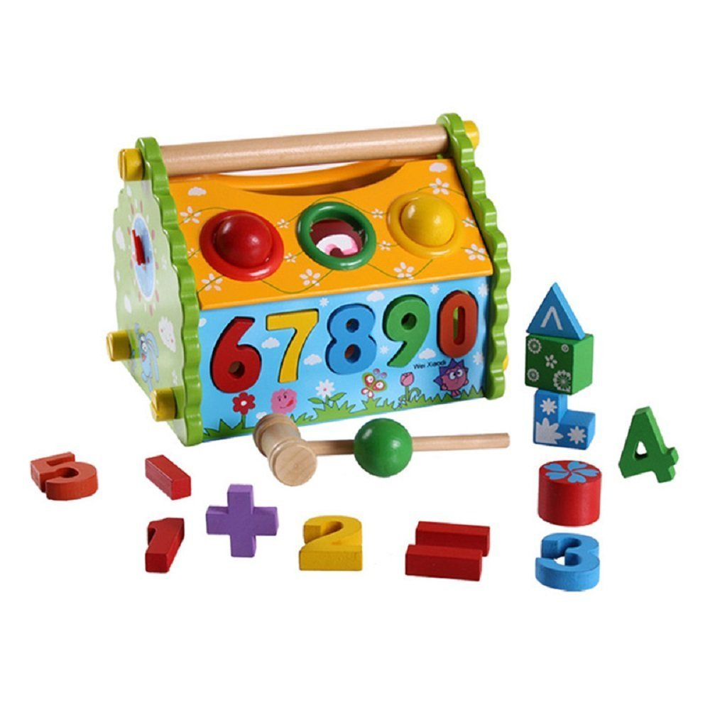 HC Wooden House Shape Sorting For Baby Learning Numbers to Matching the Holes 26 Pieces Multifunctional Wooden Digital Geometric Stacker Blocks Shape Sorting Box Building Blocks Toys for Toddlers