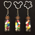 SENFAI Best Selling Wholesale Custom Empty Glass Bottle Keychain Pill Box Keychain