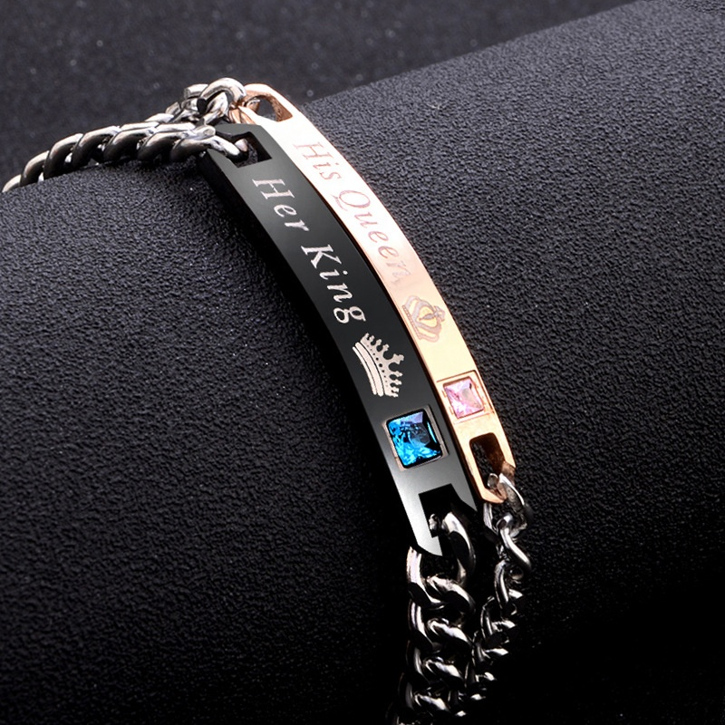 HB1107 Valentine's Gift Minimalist Lover Chain Bracelet Letters His Queen Her King Engraved Couple Bracelet фото