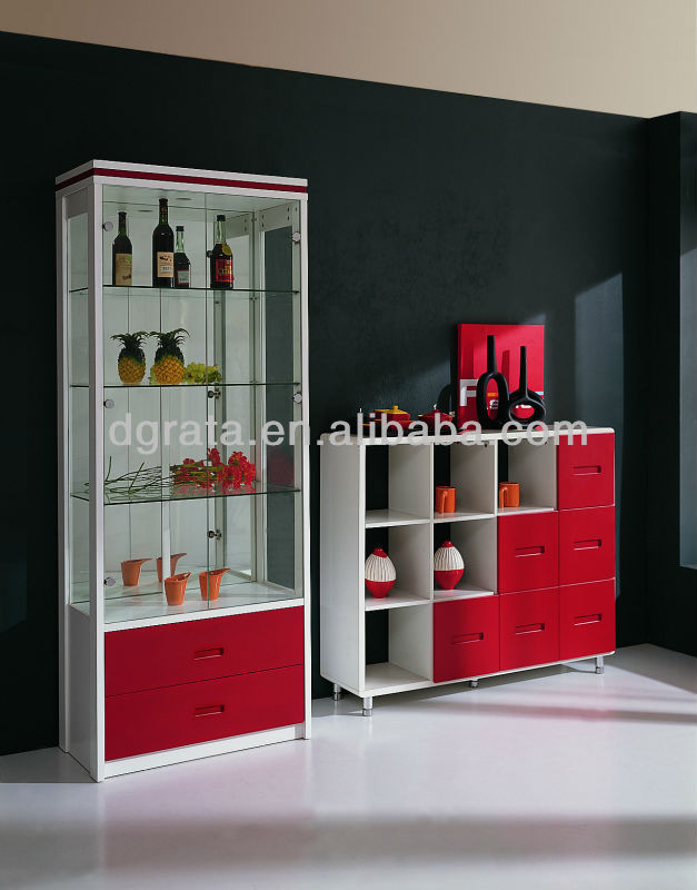 2014 Modern design lvitrine living room cabinets in E1 MDF board with painting is designed for living room