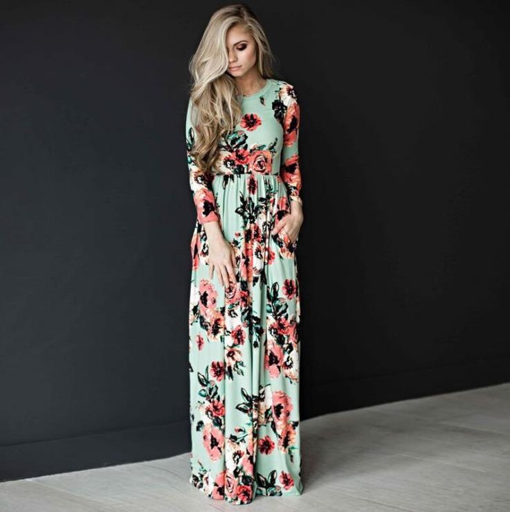 Alibaba.com / 2018 Summer Long Dress Floral Print Boho Beach Dress Tunic Maxi Women long sleeve Evening Party sexy Dress