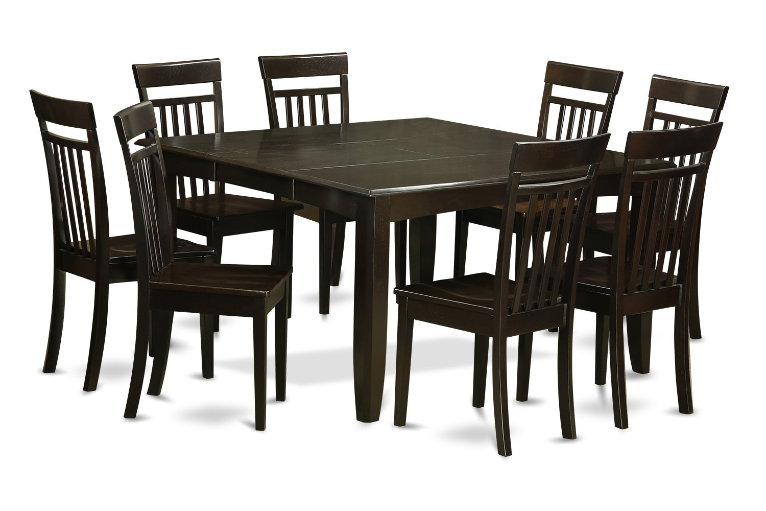 East West Furniture PFCA9-CAP-W 9 Pc Dining Room Set Dinette Table with Leaf and 8 Dinette Chairs.