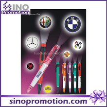 promotional pen with led light plastic 2015 new desigh led logo projecting light pen