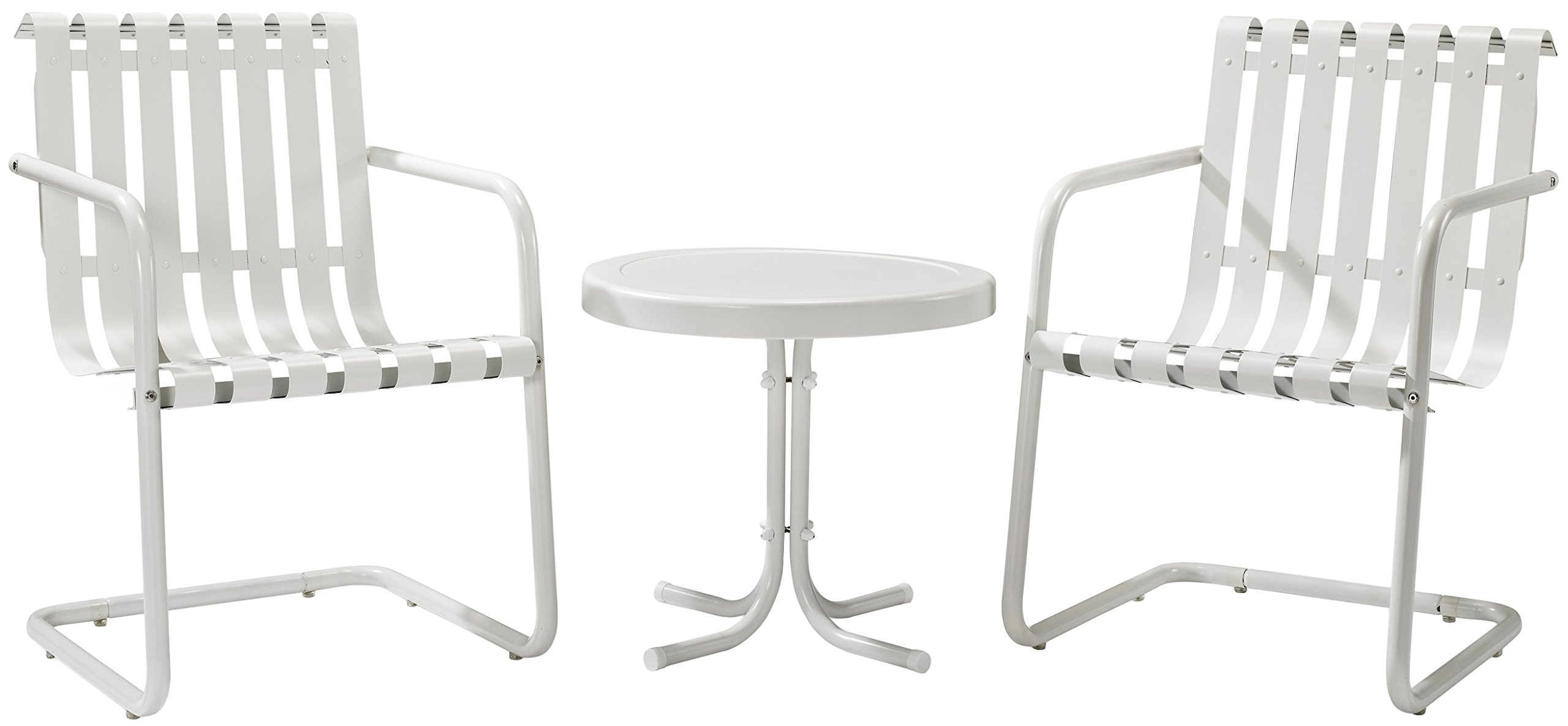 Crosley Furniture Gracie 3-Piece Retro Metal Outdoor Conversation Set with Side Table and 2 Chairs - Alabaster White
