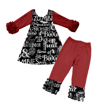 Wholesale fall cheap boutique beautiful children girl clothes online sets long sleeve ruffle outfits
