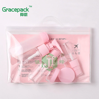 Hot sale eco-friendly make up cosmetic travel bottle kit 9pcs lotion spray bottle plastic travel set