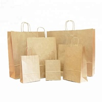 "Recycled custom 8""x4.75""x10"" brown 100gsm twisted paper handle food shopping kraft paper bag"