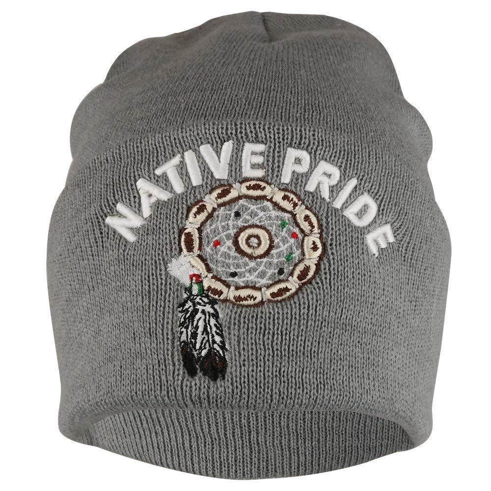db9429e1ace Get Quotations · Native Pride Dream Catcher 3D Embroidered Long Cuff Beanie
