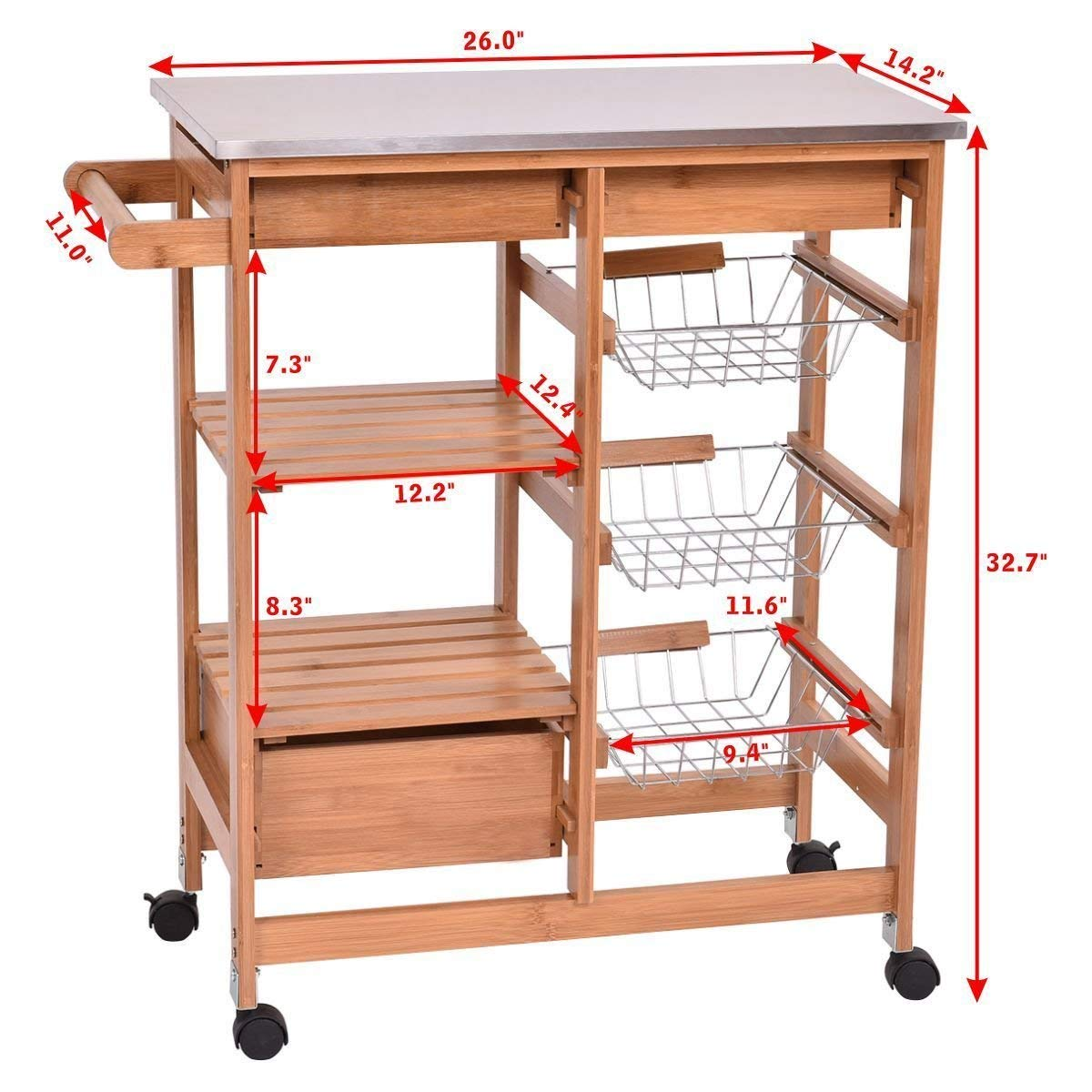 Bamboo portable Rolling Kitchen Island Trolley Cart Storage Shelf Drawers Basket Dining cart 5