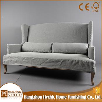 Living Room Furniture Vintage French Louis Style Wood Frame Linen Upholstered Loveseat Sofa