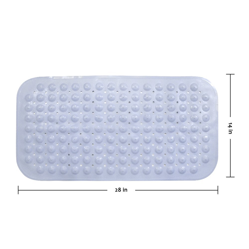 "Bathtub Mat, Non-slip Shower Mats Mildew Resistant, Anti-Bacterial, PVC Bath Mat 28"" x 14"" Shower Safety Matting for Bath Shower Bathroom Bathtub or Tub Floor"