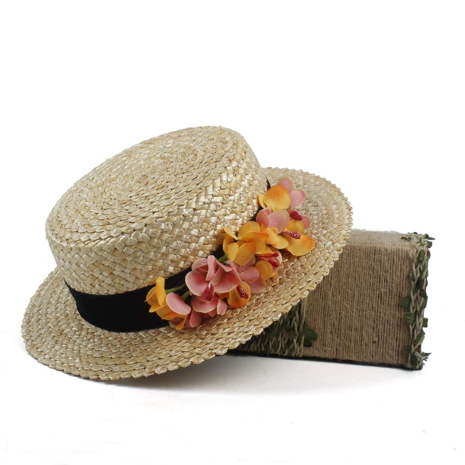 5721f9d0285f9 Straw hat. Flower boater hat.