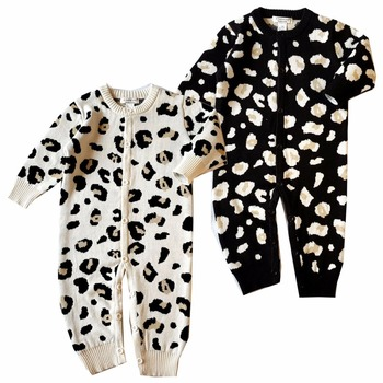 bd815ad57 Baby Girls Leopard Footless Romper Pajama Soft Cotton Jumpsuit ...