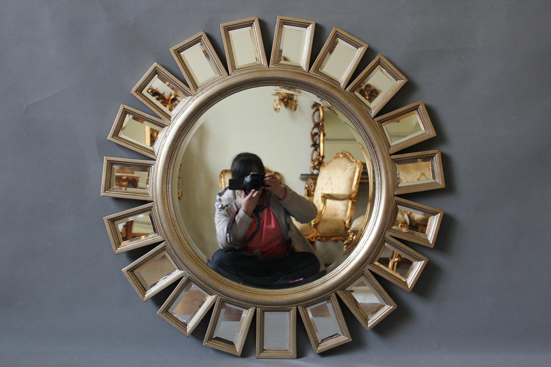 Ronde Spiegel Goud : Ronde gekleurde spiegel in de vorm van bord te koop dehands be