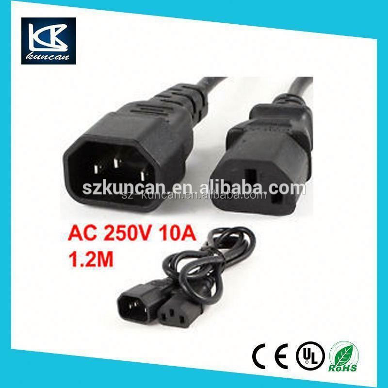 VDE approval IEC 320-C14 to IEC 320-C13 LOCKING AC power extension cord IEC Lock C13 cord c13 c14 connector power cord