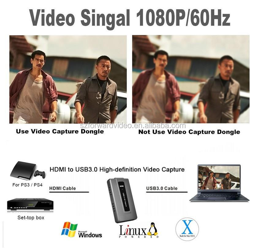 Amazon hot selling HDMI to USB 3.0 UVC Capture Card Device Dongle 1080P Video Audio recorder with live streaming  ezcap287P