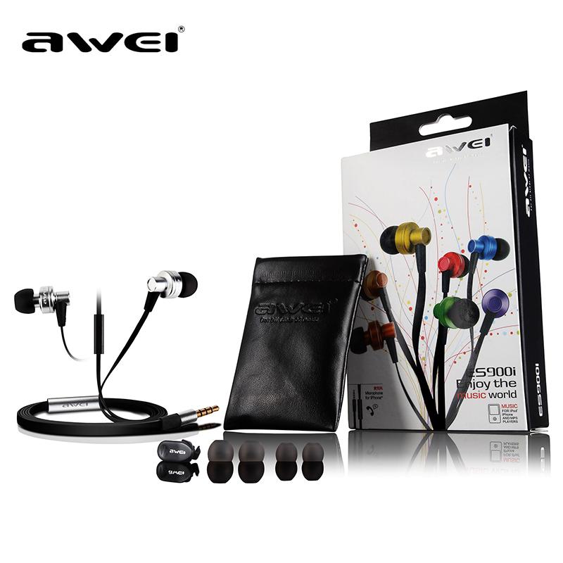1.2m length high quality sound original brand AWEI ES-900i smart wired earphone